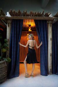 ChaCha Front Slit Dress in Noir - Noir - Back