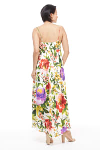 Midi Floral Knot Tie Sundress - Red/Purple - Back