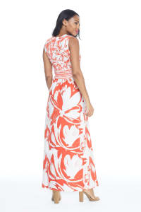 V-Neck Large Floral Maxi Sundress - Orange - Back