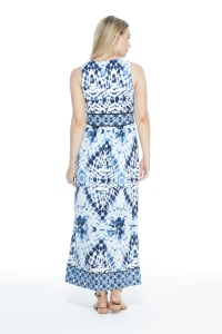 Ikat Pattern Mesh Maxi Dress - White/Blue - Back