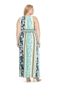 Keyhole Neck Floral Stripe Maxi Dress - Back