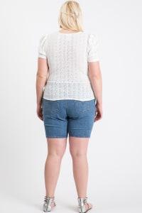 Cute Puff Short Sleeve Top - Cream - Back