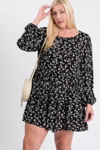 Summery Floral Dress - Black / Ivory - Back