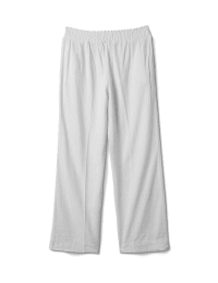 Smocked Waist Pull On Pant With Pockets - White - Back