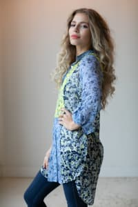 Floral Button Front Mixed Media Blouse - Blue/Yellow - Back