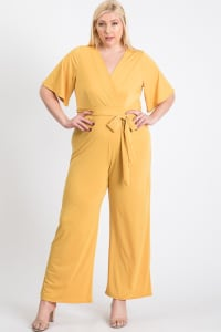 V-Neckline Short Sleeve Jumpsuit - Plus - Yellow - Back