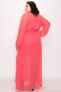 To Wow Maxi Dress - Coral - Back