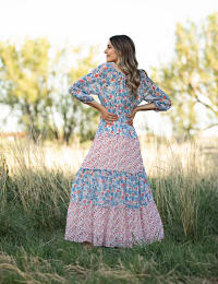 Floral Mixed Media Tiered Maxi Dress - Back
