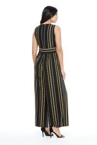 Whitney Chain Stripe Jumpsuit - Black/Gold - Back