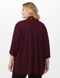 Roz & Ali Novelty Sleeve Grommet Cardigan - Burgundy - Back