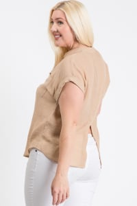 Breezy V-Neck Top - Khaki - Back
