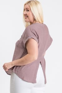 Breezy V-Neck Top - Mauve - Back