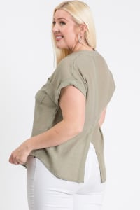 Breezy V-Neck Top - Sage - Back