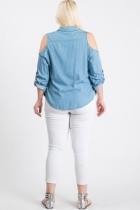 The Not So Basic Denim Cold-Shoulder Shirt - Denim - Back