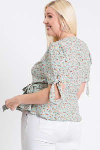 Wrapped by Floral Top - Sage - Back
