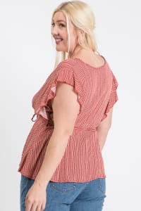 Carefree Peplum Top - Rust - Back