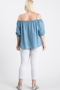 The Striped/ Denim Off-Shoulder Top - Denim - Back
