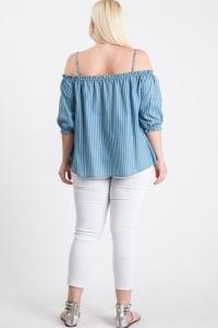 The Striped/ Denim Off-Shoulder Top - Back