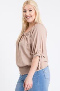 Simply Cute Off-Shoulder x Smocking Top - Khaki - Back