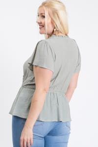 Stylish Over-Wrap Top - Sage - Back