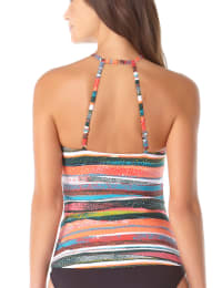 Anne Cole Sand Stripe High Neck Tankini Swimsuit Top - Back