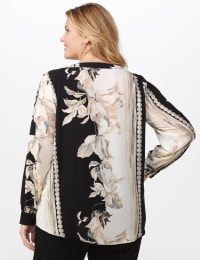 Long Sleeve Placed Floral Blouse - Black/Natural - Back
