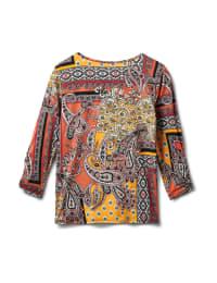 Patchwork Keyhole Tie Front Knit Top - Misses - Terracotta - Back