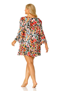 Anne Cole® Sunset Floral Flounce Sleeve Swimsuit Cover-Up - Multi - Back