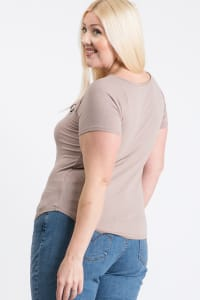 Your Everyday Rib Top - Taupe - Back