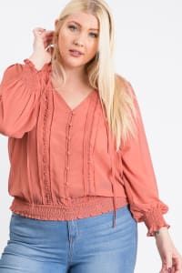 Cutie Smocking Top - Coral - Back