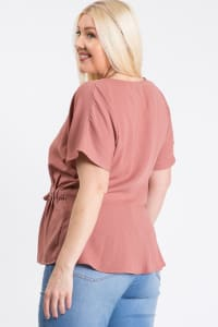 Waist Band With Front Ribbon Top - Mauve - Back