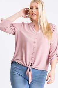 V-Neck Buttoned Shirt - Pink - Back