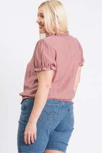 Frill Neck Smocking Top - Mauve - Back