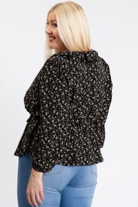 Business Or Pleasure Floral Wrap Top - Black - Back