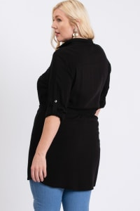 Buttoned Shirt Dress - Black - Back