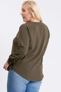 Neck Shirring Blouse - Olive - Back