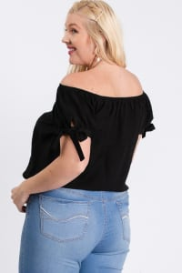 Off-Shoulder Short Sleeve Top - Black - Back