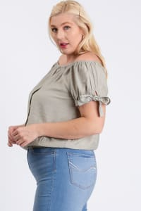 Off-Shoulder Short Sleeve Top - Sage - Back