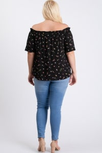 Small Flowers Off-Shoulder Top - Black - Back