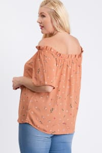 Small Flowers Off-Shoulder Top - Peach - Back