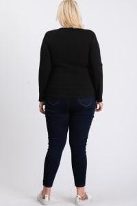 V-Neck Plain Sweater - Black - Back