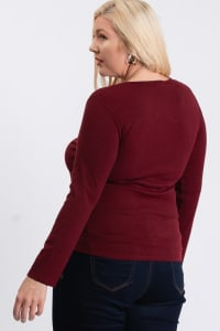 V-Neck Plain Sweater - Burgundy - Back