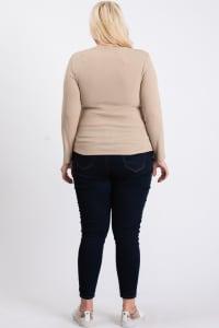 V-Neck Plain Sweater - Khaki - Back