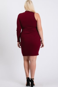 One-Shoulder Sexy Dress - Burgundy - Back