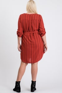 Casually Chic Shirt Dress - Rust - Back