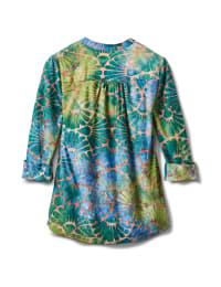 Tie Dye Clip Jaquard Popover Knit Top - Blue/Green - Back