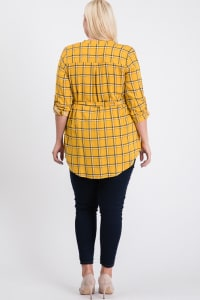 Playful Plaid Tunic Shirt - Mustard - Back