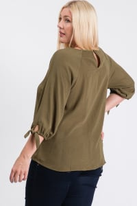 Daily Use Poly Linen Top - Olive - Back