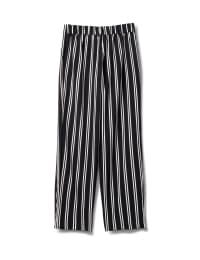 Striped Soft Pant with Elastic Waist, Soft Tie Belt - Black/white - Back
