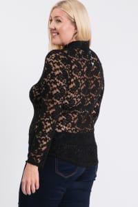 Lace Buttoned Blouse - Black - Back